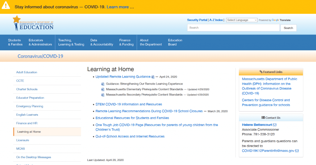 DESE's COVID-19 Learning at Home Page