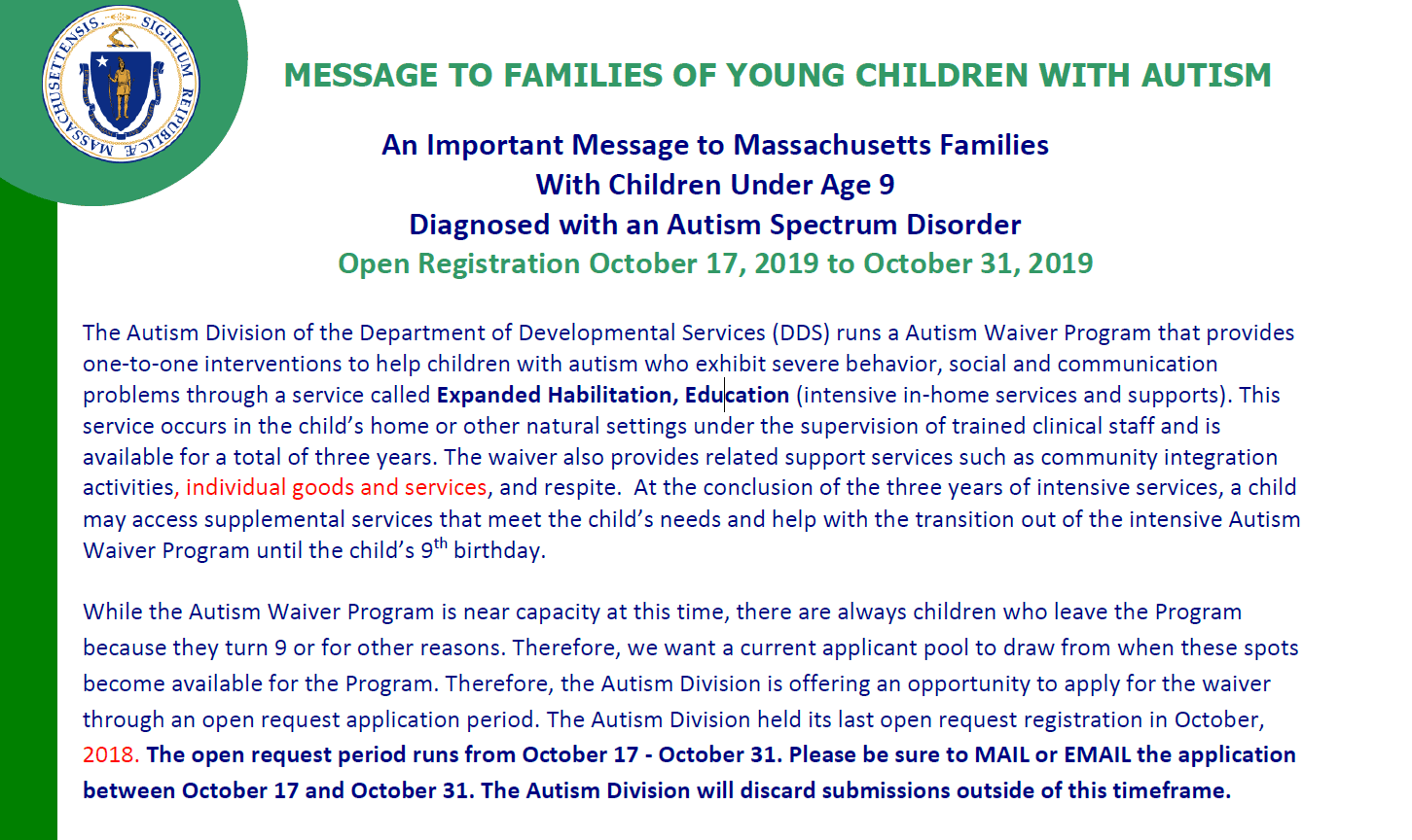 Family Notice for the Autism Waiver Program 2019