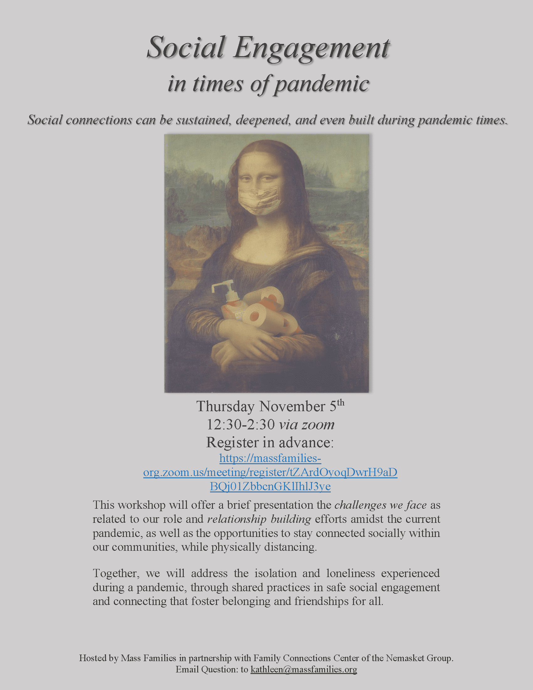 Social Engagement in Times of Pandemic November 5th 2020