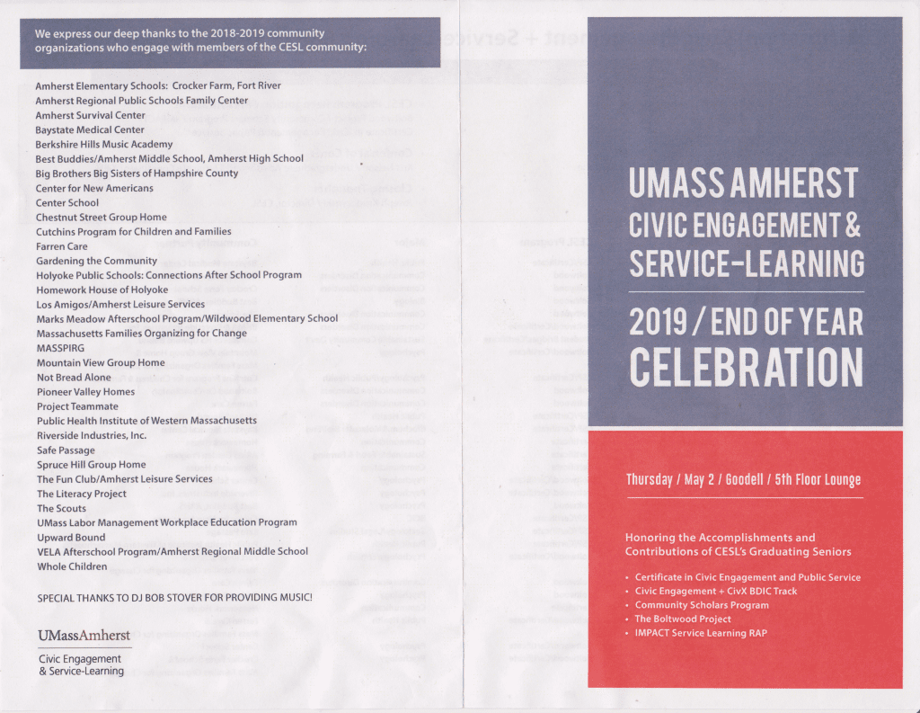 Scan: Program of the UMass Service Learning Program celebration