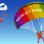 "Graphic: Skydivers jumping out of a plane (with MFOFC lettering), one on the right with a rainbow-colored parachute that reads ""ADVOCACY BOOTCAMP"""